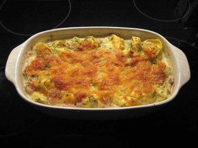 Cheesy casserole in a rectangular dish