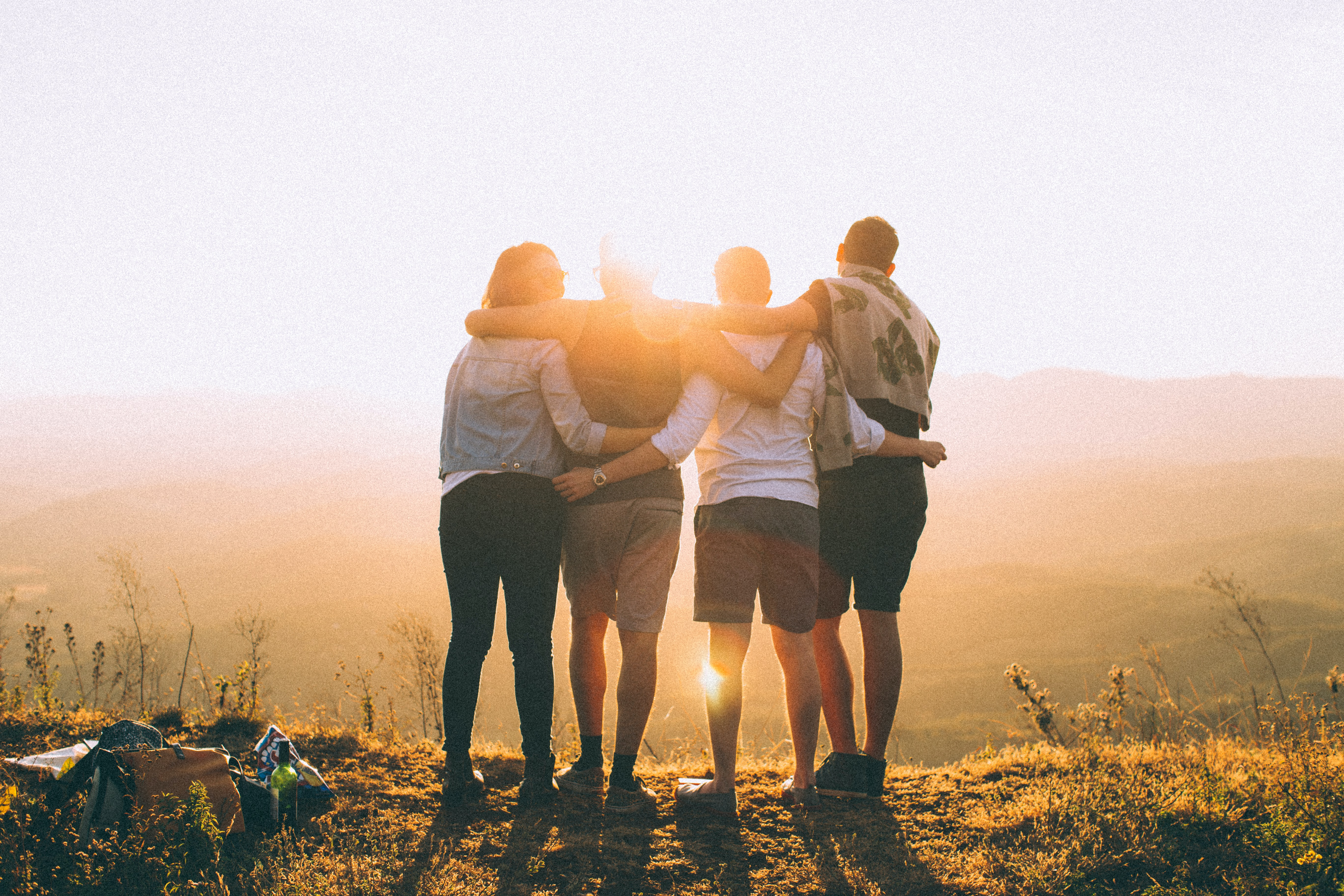 Four young adults, with their backs to the camera, wrap their arms around each other outdoors as bright sun shines around them.