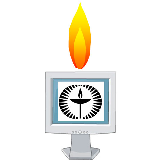 'Tech Chalice:' the UUA chalice on a monitor 'candle' with a flame above it. Image by Erik Wikstrom.
