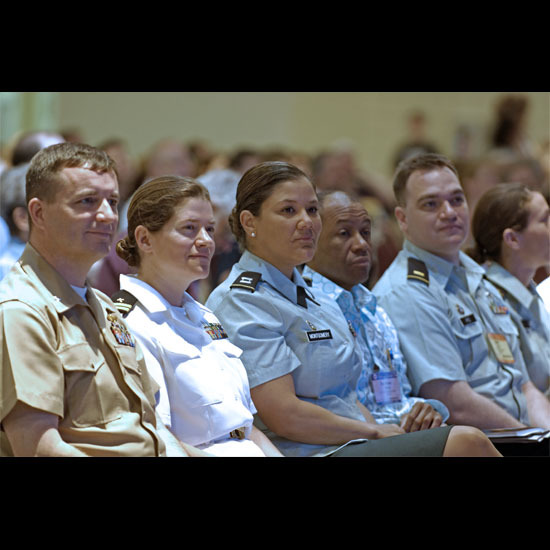 A row of Unitarian Universalists in military uniform. Photo by Nancy Pierce.