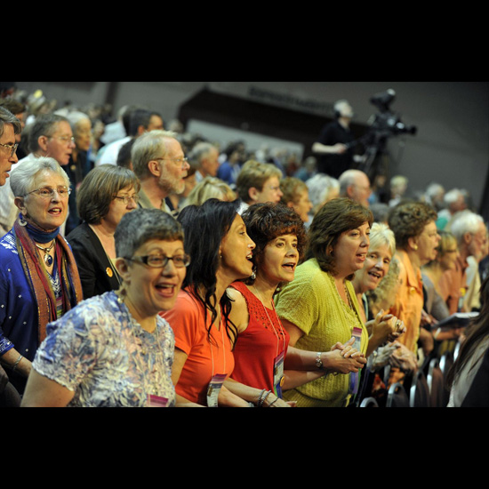 Crowd shot: people singing at the 2010 General Assembly Opening and Plenary I. Photo by Nancy Pierce.