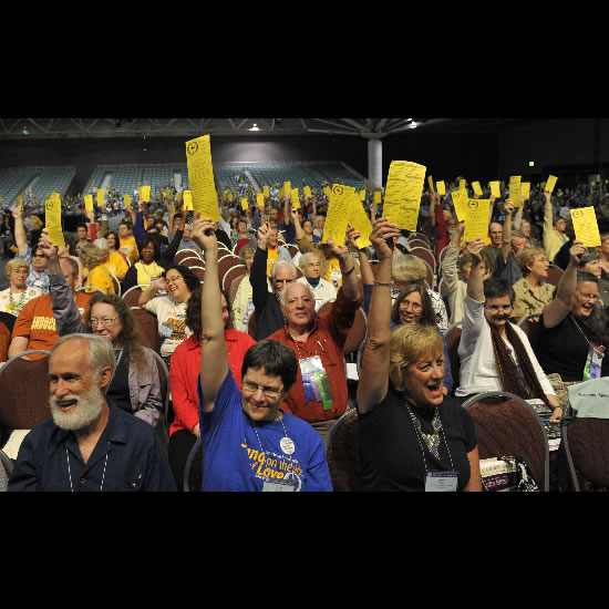 Voting at General Assembly 2010. Photo by Nancy Pierce.