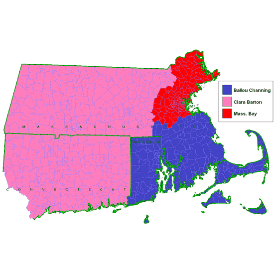 Map showing the UUA Districts of New England: Ballous Channing, Clara Barton, Massachussets Bay