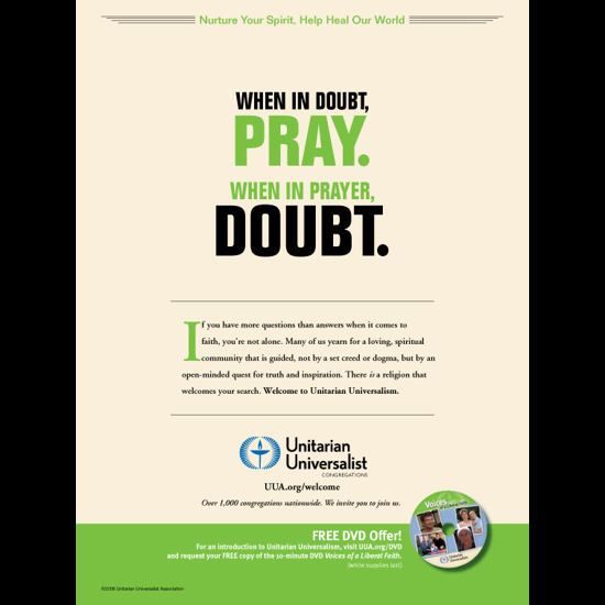 Text: 'When In Doubt, Pray. When In Prayer, Doubt.'