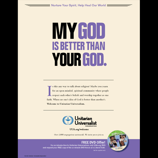 Ad with a free DVD offer: 'My God is Better than Your God.'