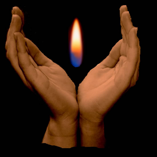 Hands around a flame.