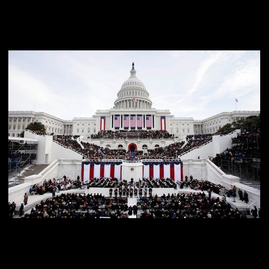 People gathered on the steps of the U.S. Capitol for Inauguration Day, January 20, 2005. Photo by White House photographer Paul Morse.