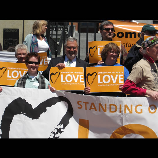 Peter Morales with UUA staff and SSL supporters at press conference, May 13, 2010. Photo by Audra Friend.