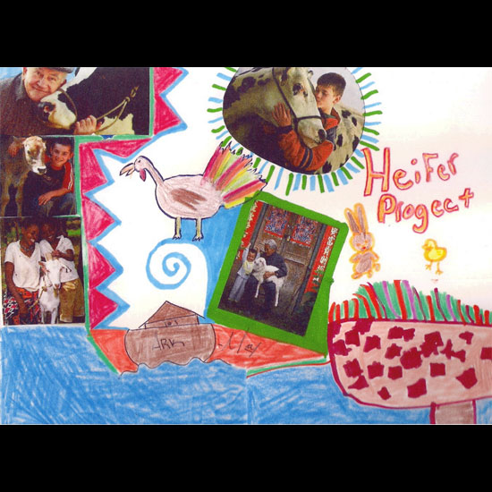 Heifer Project greeting card designed by children: photos of people and animals are in a collage with drawings of animals and an ark. Image courtesy Jennifer Dant.