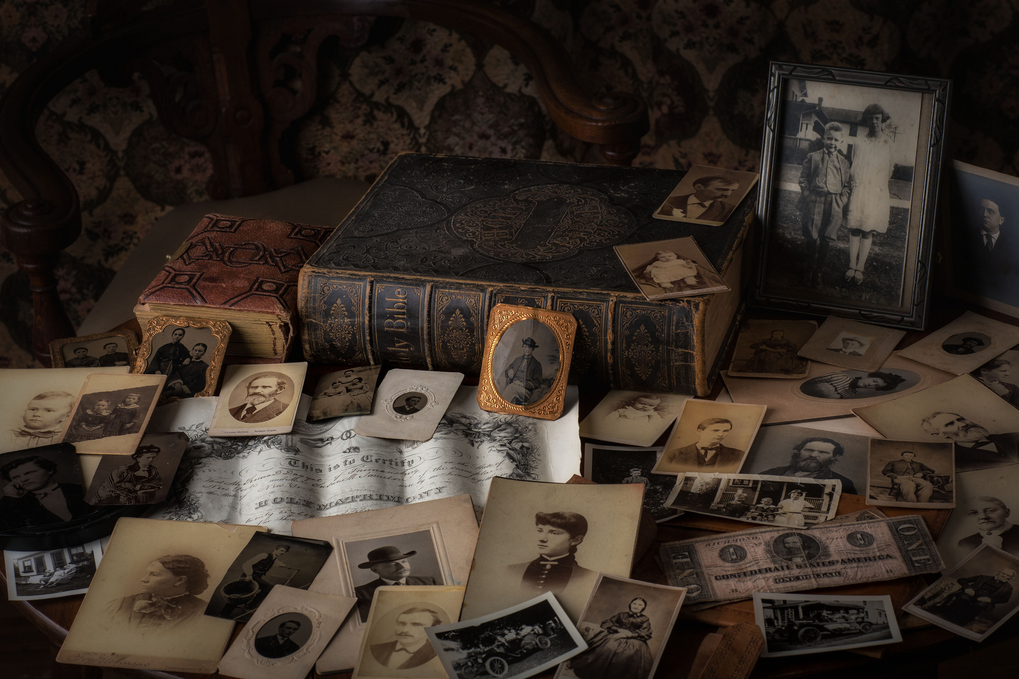 An array of old photographs and vintage books