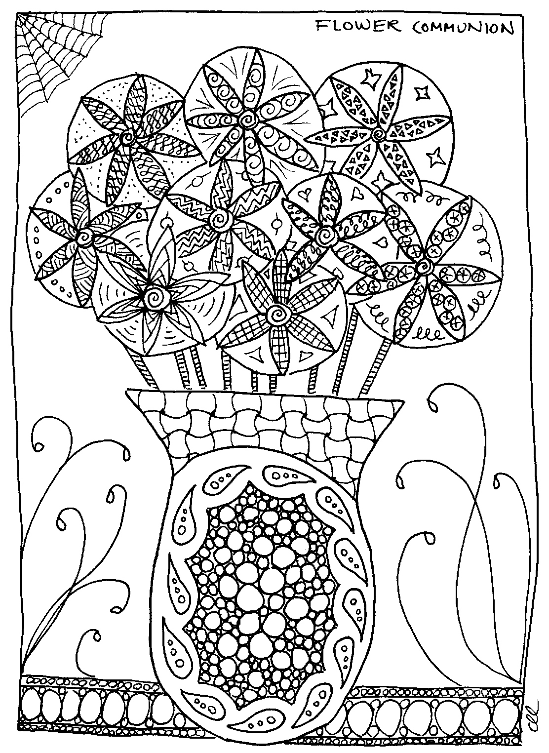 A coloring page of a vase filled with flowers.