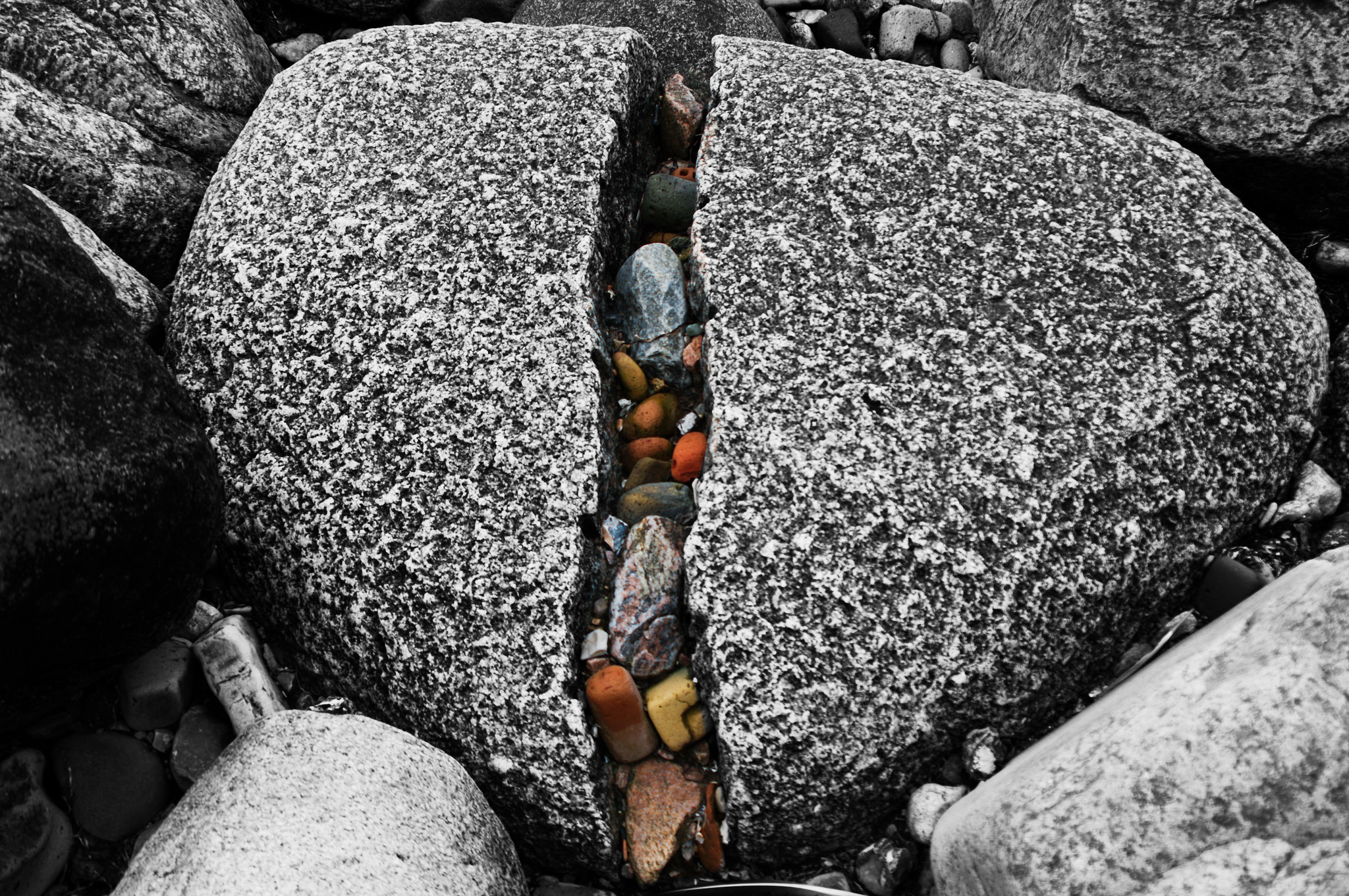 A large gray rock is cracked down the middle, where many small colorful stones are caught