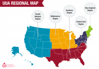 Map of UUA regions in the United States.