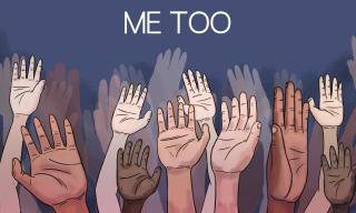 "Image of many diverse hands being raised under the title ""Me Too"""