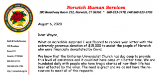 image of portion of thank you letter from Norwich Human Services