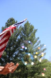 A U.S. flag and a pair of hands intrude into a picture of bubbles against an evergreen tree