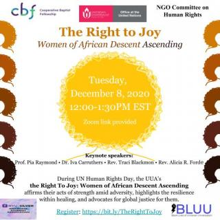 "Flyer for ""Right to Joy: Women of African Descent Ascending"" event on December 8, 2020"