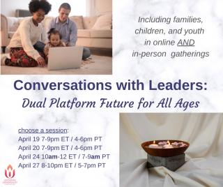 Family on laptop and chalice with candles - Says Conversations with Leaders