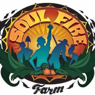 Logo for Soul Fire Farm depicting people harvesting and working the land, one of whom has a fist raised in the air.