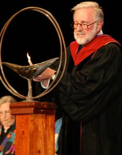 Rev. Ralph Mero lights the chalice at the 2008 General Assembly Service of the Living Tradition