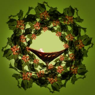 Chalice within a wreath of holly.