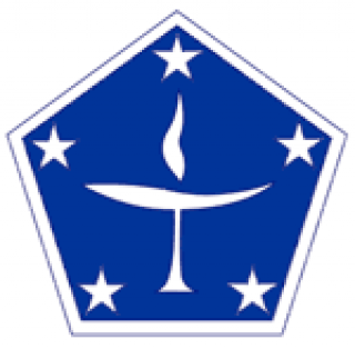 Unitarian Universalist Military Logo: white chalice on a blue pentagram with five stars.