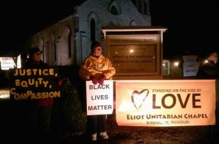 Members of Eliot Chapel in Kirkwood, MO stand up for Black Lives Matter