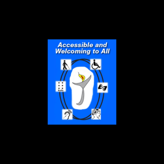 EqUUal Access logo: 'Accessible and Welcoming to All.' Graphic of a chalice is surrounded by symbols of accessibility: a person walking with a cane, a person in a wheelchair, an illustration of Braille, an illustration of hands signing, an illustration in