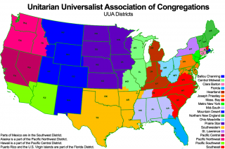 Legend for the Map of the Continental U.S. showing UUA Districts