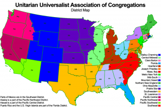 Map of the Continental U.S. showing UUA Districts