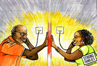 Mama's Day graphic of father and daughter talking on phone in prison.