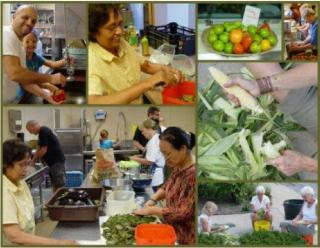 Collage of people preparing food for Community Dinner at UU Akron, OH.