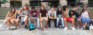 A group of youth of color hang out!