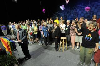 Unitarian Universalists celebrate Supreme Court marriage decision, June 26, 2015. UUA President Peter Morales invited same-sex married couples and those couples now able to become legally married onto the stage at General Assembly.