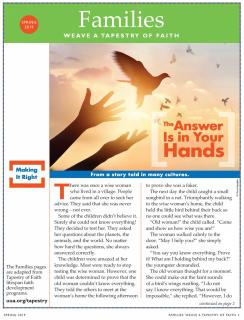 "Families section cover from the Spring 2019 UU World features a story, ""The Answer Is in Your Hands,"" and shows a pair of hands releasing a bird into a softly glowing daylight sky."
