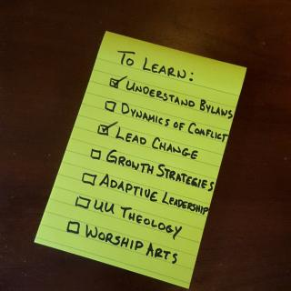 """To Do"" list for leaders: Understand Bylaws, Dynamics of Conflict, etc."