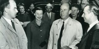 Historical image featuring Adlai Stevenson, Rev. Dana Greeley, and Rev. Dr. Walter Donald Kring