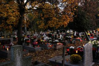 A cemetary, under fall trees, with glowing candles on top of headstones