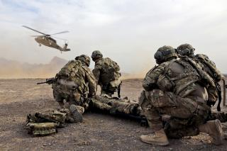 Security force team members for Provincial Reconstruction Team (PRT) Farah wait for a UH-60 Black Hawk medevac helicopter to land before moving a simulated casualty during medical evacuation training on FOB Farah, Jan. 9
