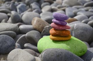 Colorful stones balanced in a pile