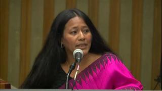 Indigenous activist Binalakshmi Nepram from Manipur, India addresses a United Nations intergenerational conference.