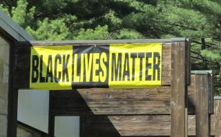 Black Lives Matter Banner at Allen Avenue UU Church