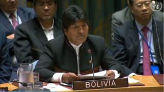 Bolivian President Evo Morales addresses a Sept. 2, 2018 session of the UN Security Council on weapons of mass destruction