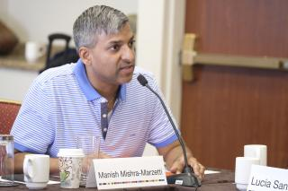 Trustee Manish Mishra-Marzetti at the Post-GA 2017 UUA Board of Trustees Meeting