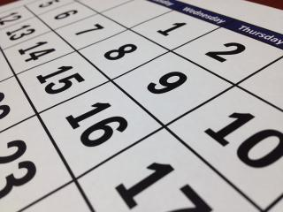 Close up of a monthly calendar