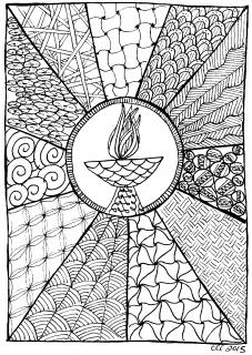 "a ""doodle"" drawing of a chalice, with designs radiating outward"