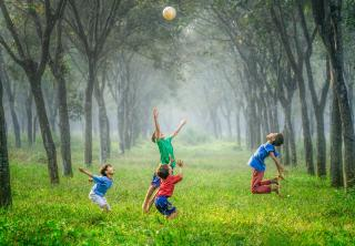 On a carpet of green, beneath trees, four children toss a soccer ball in the air.
