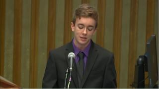 Cody Blattner, a trans rights activist and student at Lehigh University addresses a conference at the United Nations