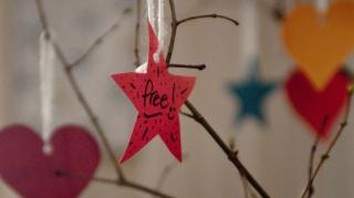 "A red star dangles from a ribbon on a tree with the word ""Free."""