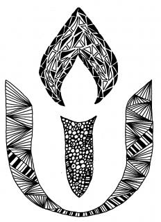 "The UUA logo, in black and white ""doodles"""